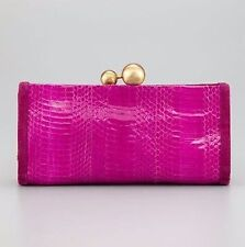 NEW Authentic DVF Diane von Furstenberg Marilyn Pink Fuchsia EXOTIC Snake Clutch