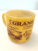 Vtg Federal Milk Glass Grand Canyon Souvenir Coffee Mug Fire King Yellow Hopi