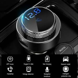 Car FM Transmitter 5.0 Wireless Bluetooth Handsfree Kit MP3 Playe Radio Adapter