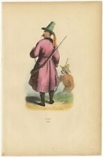 Antique Print of a Kyrgyz Man by Wahlen (1843)