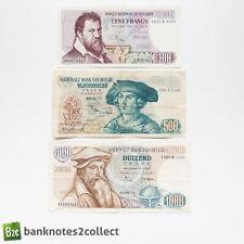 BELGIUM: Set of 3 Belgian Franc Banknotes.