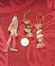 Lot 3 Vintage UMBRELLA CANDY Wrapped Spun Glass Christmas Tree Ornament Colorful
