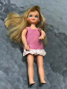 Vintage Blonde Tutti Doll Mattel Barbie Family With Dress