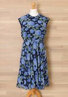 New Hobbs London Women's Size 14 Florence Blue Floral Silk Fit & Flare Dress