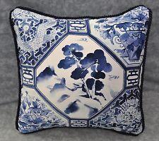 Pillow made w Ralph Lauren Palm Harbor Octagonal Navy Blue & White Fabric 12x12