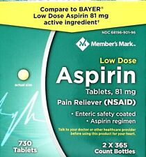Member's Mark Low Dose Aspirin 81mg, Lot of 365, 730 or 1460 Tablets