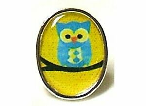 CUTE HOOT OWL RETRO IMAGE SILVER PLATED ADJUSTABLE RING HAND CRAFTED ALTERED ART