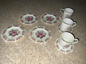 Vintage Toy Play Dishes Pink Floral Plastic Hexagon~10 Plates, Cups, & Saucers