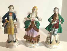 Victorian Figurines, Porcelain, Set of 3, Made in Occupied Japan, 1940's, Rare