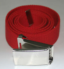 """NEW FLIP TOP ADJUSTABLE 50"""" INCH RED MILITARY WEB CANVAS CHROME BELT BUCKLE"""