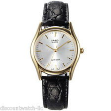 Casio Men's Black Leather Strap Watch, Champagne Dial, MTP1094Q-7A