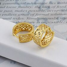 Hollow Hoop 14Mm Huggie Fashion Jewelry Women Earrings 18k Yellow Gold Filled