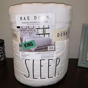 """Rae Dunn White cotton King size """"Sleep"""" Ticking Stripe Quilt & king sham set NWT"""