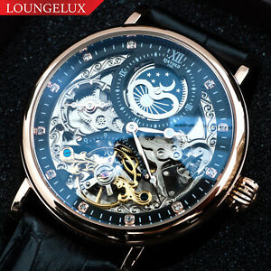 Mens Dual Time Automatic Mechanical Watch Rose Gold Black Dial Black Leather