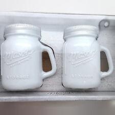 Glass Mason Jar Salt and Pepper Shaker White New
