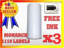 3 SLEEVES WHITE LABEL FOR MONARCH 1110 PRICING GUN 3 SLEEVES=48ROLLS