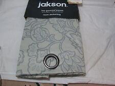 "Jakson  Room Darkening JACOBEAN FLORAL Two Grommet Panels 80""x84"" Grey-Lt Sage"