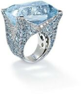 Big Aquamarine Rings Sparkling Silver Gemstone Women's Engagement Jewelry