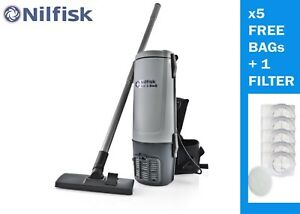 Nilfisk GD5 Backpack Vacuum Cleaner 1yr Warranty, Free 5 Dust Bags & 1 Filter