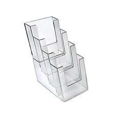 """Count of 2 New Clear 4 Tier 4 Pocket Trifold Brochure Holder 4.25""""W x 6""""D x 10""""H"""