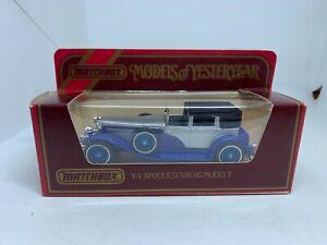 Matchbox Models of Yesteryear Y-4 1930 Model J Duesenberg Blue/Silver NEW
