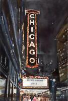 Chicago Theatre :  Signed LE Art Print : Sandra Watercolors™