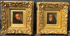 A Pair of 19th c. Small Portrait Paintings. Old master School.  Oil on board.
