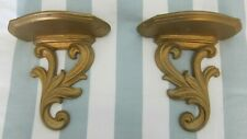 """*PAIR Vintage SYROCO WOOD Wall Sconces Shelves Antique Hollywood Regency 7.5"""""""