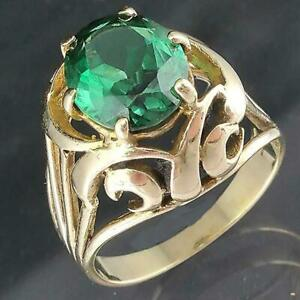 Vintage 1960's Solid 9k Yellow GOLD Oval Cut GREEN SPINEL SOLITAIRE RING Sz N1/2