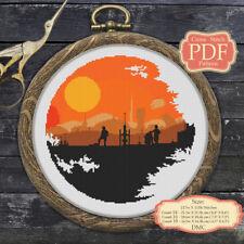 Death Star, Tatooine - Cross stitch PDF Pattern, Embroidery Hoop Art #057