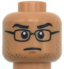 Lego New Flesh Minifigure Head Dual Sided Black Glasses Black Eyebrows Piece