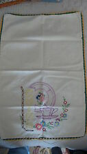 Vintage Embroidered KITCHEN CHINA TOWEL Embroidered Edge