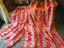 "Vintage 1950s Shiny Cotton Brocade Curtains Peachy Red  80""L x 70""W"