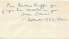 JEAN RENOIR - orig. Autograph - Venedig 1959 - signed, inscribed cut, Venice