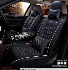Deluxe Edition Auto Car 2 Front Seat Cover Cushion Black PU Leather w/Pillows