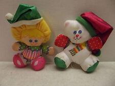 FISHER PRICE VINTAGE 1987 CHRISTMAS SMOOSHEES SMOOSHIES BEAR & ELF GIRL DOLL