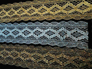 "Vintage Metallic Lace 1 3/4"" Scallop Edge Diamond Pattern 1yd Made in France"