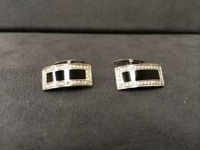 14K White Gold Mens Diamond And Black Onyx Cuff Links