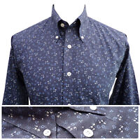 Relco Mens Floral Flower Print Shirt in Blue NEW Long Sleeve Mod Vintage Retro