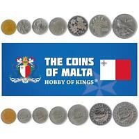 SET OF 7 COINS FROM MALTA. 1 CENT - 1 LIRA. MEDITERRANEAN ISLAND MONEY. 1986