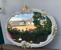 Espejo de Pared Barroco Ovalado Blanco Oro Marfil 52x42 Baño Vintage