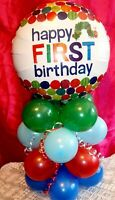 FOIL BALLOON TABLE DISPLAY  AIR FILL HAPPY 1st BIRTHDAY Hungry Caterpillar AGE 1