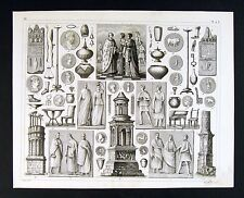 1849 Bilder Atlas Print Gallic Women Monuments Reliefs Roman Gaul Era Artifacts