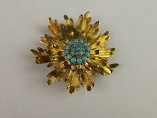 18ct Yellow Gold & Turquoise Brooch