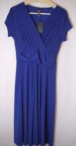 Koh Koh New Women's Elegant Short Sleeve V Neck Dress Small Sz 2 Blue Full Skirt