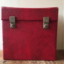 "True Vintage 1950s/60s 12"" Red LP Record Vinyl Case Bag Box with keys!"
