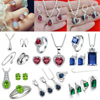 Women 925 Silver Gemstone Topaz Pendant Necklace Rings Earrings Jewelry Set Gift