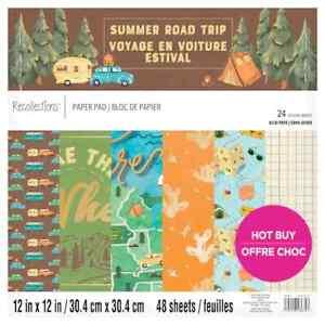 "RECOLLECTIONS Scrapbook Paper Pad SUMMER ROAD TRIP 48 Sheets 12x12"" Travel Foil"