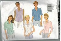 6085 Vintage Butterick Sewing Pattern Misses Semi Fitted Top Button Up Blouse 12
