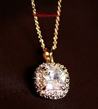 Rose Gold Plated Princess Cut Diamond Necklace Made With Swarovski Crystal N60